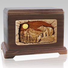 Bears Walnut Cremation Urn For Two