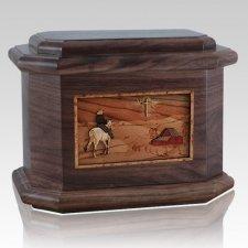 Horse & Cross Walnut Octagon Cremation Urn
