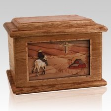 Horse & Cross Walnut Memory Chest Cremation Urn