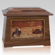 Motorcycle & Cross Walnut Aristocrat Cremation Urn