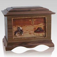 Motorcycle & Cross Walnut Cremation Urn