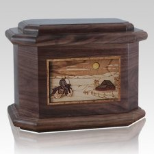 Motorcycle Moon Walnut Octagon Cremation Urn