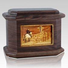 Last Horse Ride Walnut Octagon Cremation Urn