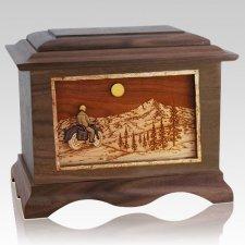 Motorcycle Mountains Walnut Cremation Urn