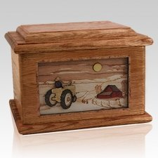 Tractor & Moon Walnut Memory Chest Cremation Urn