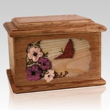Butterfly Walnut Memory Chest Cremation Urn