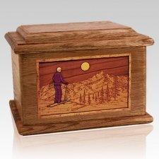 Skiing Walnut Memory Chest Cremation Urn