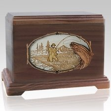 Fisherman Walnut Cremation Urn For Two