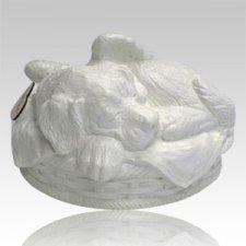 Angel Dog Cremation Urn White
