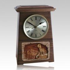 Wolfs Astoria Clock Walnut Cremation Urn