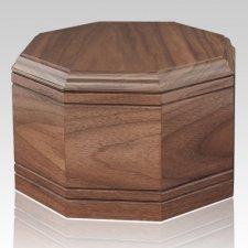 Octagon Walnut Wood Cremation Urn