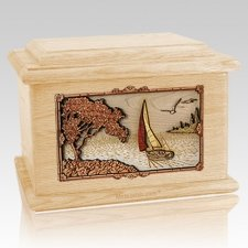 Sailboat Maple Memory Chest Cremation Urn