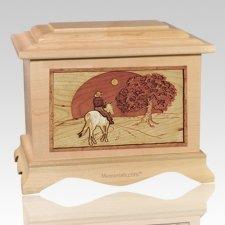 Horse & Moon Maple Cremation Urn