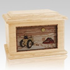 Tractor & Moon Maple Memory Chest Cremation Urn