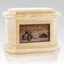 Tractor & Moon Maple Octagon Cremation Urn