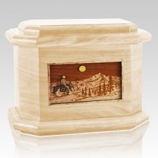 Motorcycle Mountains Maple Octagon Cremation Urn