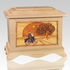 Motorcycle & Moon Maple Cremation Urn