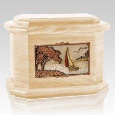 Sailboat Maple Octagon Cremation Urn