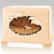 Dolphin Maple Cremation Urn For Two