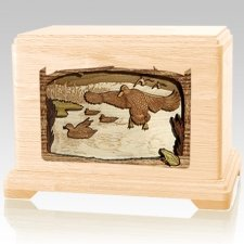 Flying Ducks Maple Cremation Urn For Two