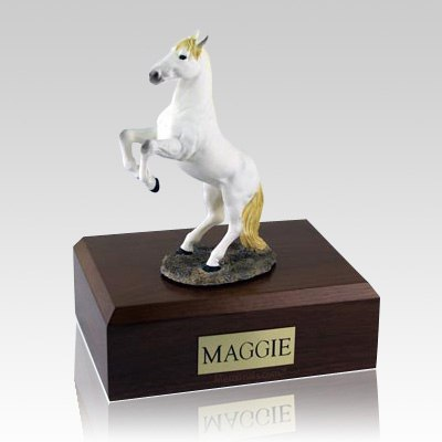 White Rearing Horse Cremation Urns