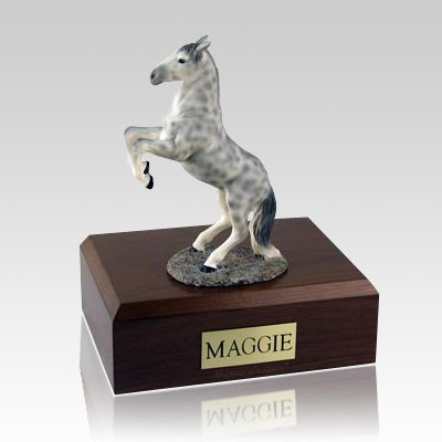 Dapple Gray Rearing Horse Cremation Urns