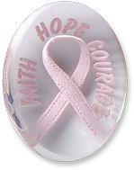 Awareness Pink Faith Hope Courage Ribbon Comfort Stone
