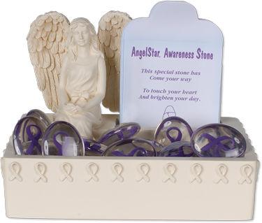 Awareness Purple Comfort Stone Keepsake Set