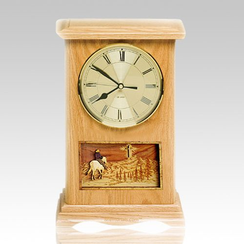 Riding and Cross Clock Oak Cremation Urn