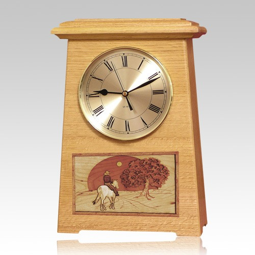 Riding and Sunset Astoria Clock Oak Cremation Urn