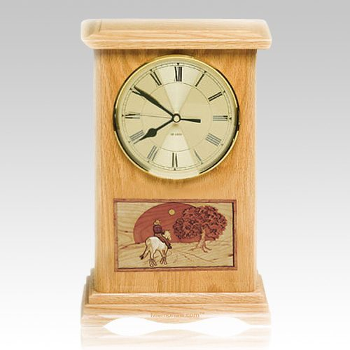 Riding and Sunset Clock Oak Cremation Urn