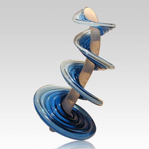 Tower Of Life Aqua Blue Cremation Sculpture