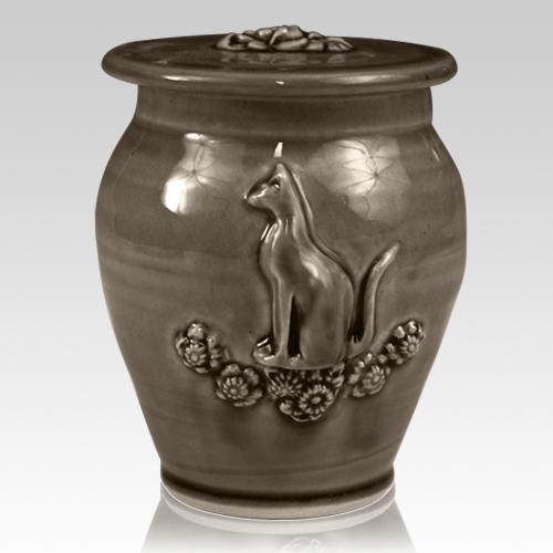 Kitty Dark Brown Ceramic Cremation Urn