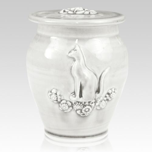 Kitty White Gloss Ceramic Cremation Urn