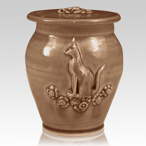 Kitty Light Brown Ceramic Cremation Urn