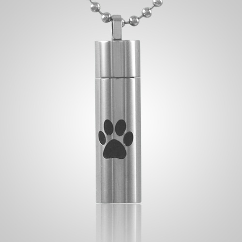 Single Paw Cylinder Cremation Jewelry