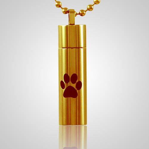 Single Paw Cylinder Cremation Jewelry IV