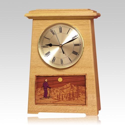 Skiing Astoria Clock Oak Cremation Urn