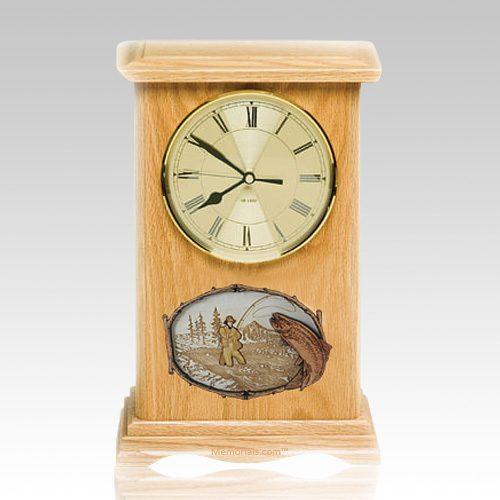 Streamfishing Clock Oak Cremation Urn