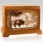 Bison Mahogany Cremation Urn for Two