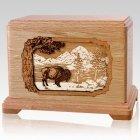 Bison Oak Cremation Urn for Two