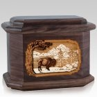 Bison Walnut Octagon Cremation Urn