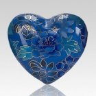 Blue Copper Heart Keepsake Urn