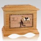 Cowboy Oak Cremation Urn