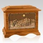 Cycling Mahogany Cremation Urn