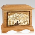 Dogsled Oak Cremation Urn