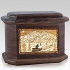 Dogsled Walnut Octagon Cremation Urn