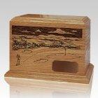 Golfer Walnut Wood Ash Urn