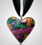 Green Pink Heart Ashes Pendant