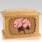 Hibiscus Oak Memory Chest Cremation Urn